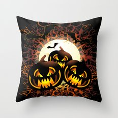 Black Pumpkins Halloween Night Throw Pillow