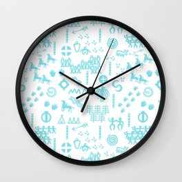 Peoples Story - Turquoise and White Wall Clock