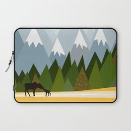 Woodland snowy mountain tops trees and mother moose and baby Laptop Sleeve