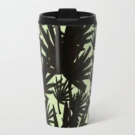 Modern black green abstract tropical leaves Travel Mug