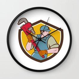 Plumber Running Monkey Wrench Crest Cartoon Wall Clock