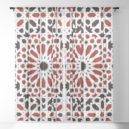 Red Oriental Geometric Moroccan Traditional Alhambra Artwork Sheer Curtain