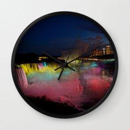 Niagara Falls Illumination Green Wall Clock