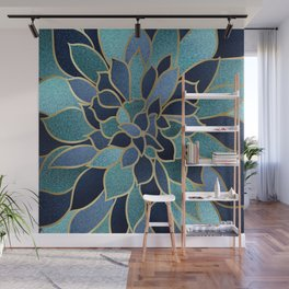 Festive, Floral Prints, Navy Blue, Teal and Gold Wall Mural