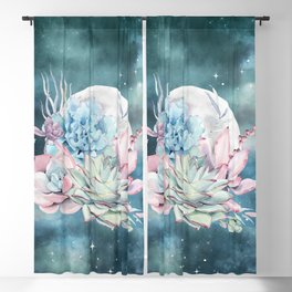 Teal Succulents Full Moon Night Sky by Nature Magick Blackout Curtain
