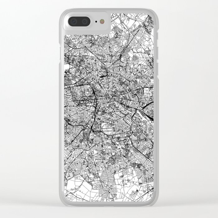 Berlin White Map Clear iPhone Case