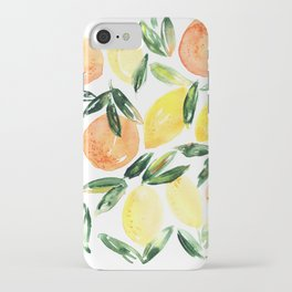 Sicilian orchard: lemons and oranges in watercolor, summer citrus iPhone Case