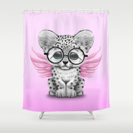 Snow Leopard Cub Fairy Wearing Glasses on Pink Shower Curtain
