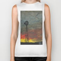 kansas Biker Tanks featuring windmill kansas by BryanCorbinArt