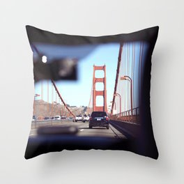 From the Backseat, Driving Across the Golden Gate Throw Pillow