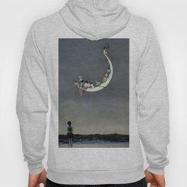""""""" Moon's First Voyage"""" Fairy Art by W Heath Robinson Hoody"""