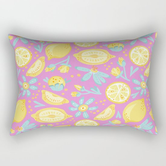 Lemon Pattern Pink Rectangular Pillow