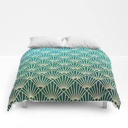 Teal golden Art Deco pattern Comforters