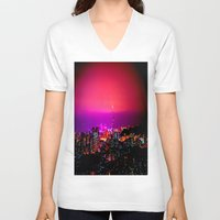 skyline V-neck T-shirts featuring City Skyline by 2sweet4words Designs