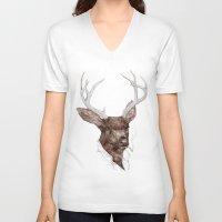 smoking V-neck T-shirts featuring Smoking Buck by Animal Crew
