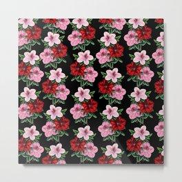 Pink Red Flowers On Black Metal Print