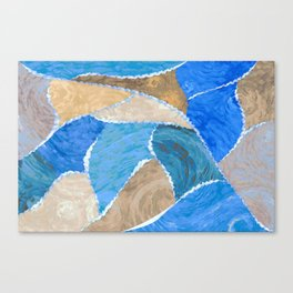 blue smeared patchwork Canvas Print