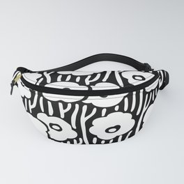 Mid Century Modern Wild Flowers Black and White 681 Fanny Pack