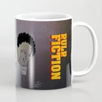 movie poster Mugs featuring Bulb Fiction - Movie Poster by totemxtotem
