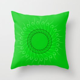 Spirographs yellow on a green background. Throw Pillow