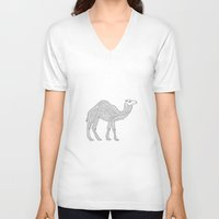 camel V-neck T-shirts featuring Camel by Emmy