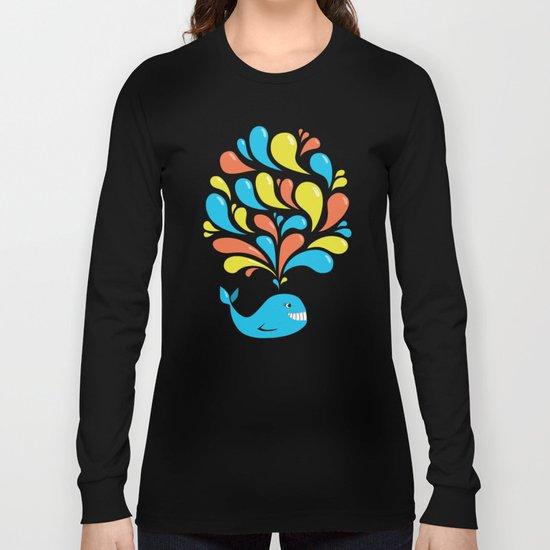 Dark Colorful Happy Cartoon Whale Long Sleeve T-shirt