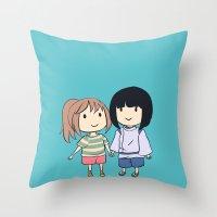 chihiro Throw Pillows featuring Chihiro & Haku by Peach Momoko