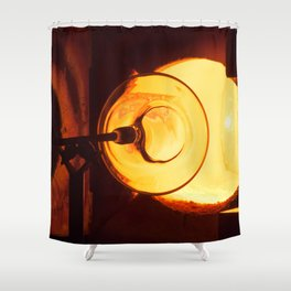 Glass blowing with a hot Glory Hole Shower Curtain