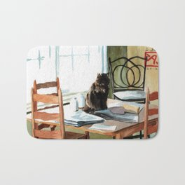 Cat on a Table With Light Coming Through a Window Bath Mat