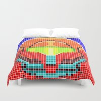 metroid Duvet Covers featuring Metroid Tiles by James Brunner