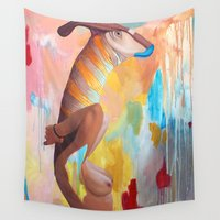 queer Wall Tapestries featuring Parasaurolophus Lex by Kim Leutwyler