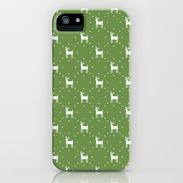 Deer pattern retro colors Christmas Day neon green background iPhone Case