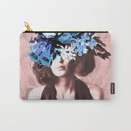 Floral Woman Vintage Blue and Pink Rose Gold Carry-All Pouch