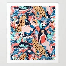 Tropical Girls with Cheetah Art Print