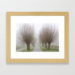 Misty willow lane Framed Art Print