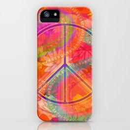 Hippie Chic Paisley Flowers Peace iPhone Case