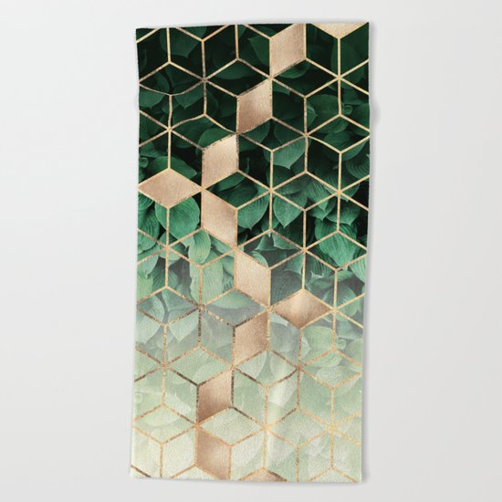Leaves And Cubes Beach Towel