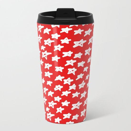 Stars on red background Metal Travel Mug