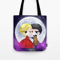 captain swan Tote Bags featuring OUAT - Chibi Captain Swan Dance by Yorlenisama