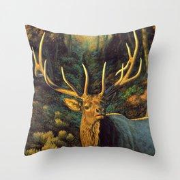 Bull Elk in Autumn Throw Pillow