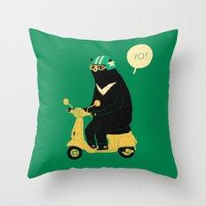 scooter bear green Throw Pillow