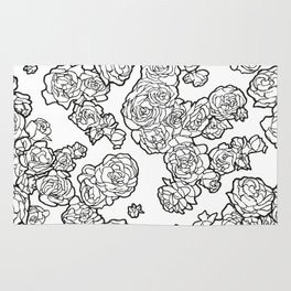 Peonies and Roses, Ink artwork Rug