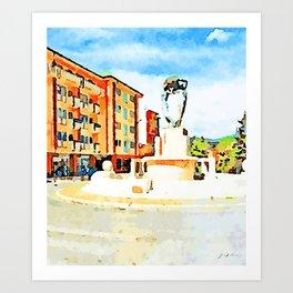 L'Aquila: fountain and orange building Art Print