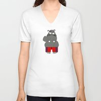 hippo V-neck T-shirts featuring Hippo by lescapricesdefilles