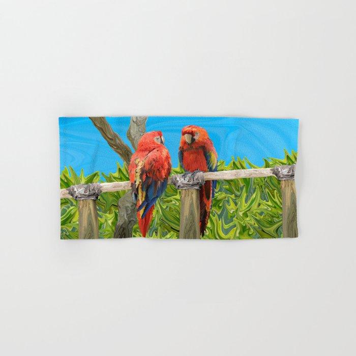 Scarlet Macaw Parrots Perching Hand & Bath Towel