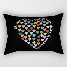 Hearts Heart Teacher Black Rectangular Pillow