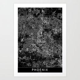 Phoenix Black Map Art Print
