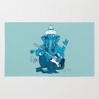 hindu Area & Throw Rugs featuring Ganesha rocks ! (v3) by Savousepate