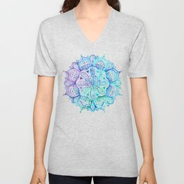 Iridescent Aqua and Purple Watercolor Mandala Unisex V-Neck