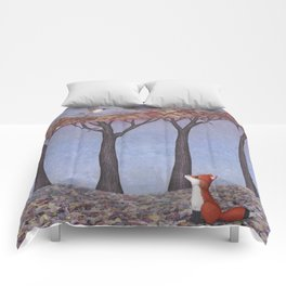 fox and chickadees Comforters
